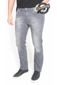 Szürke színű hagyományos egyenes nadrág