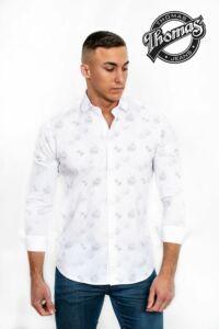 Fehér szórt mintás hosszúujjú Thomas ing