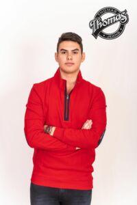 Piros cipzáros pulóver