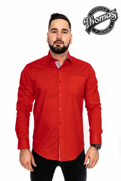 Egy színű ing piros