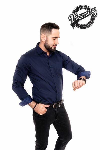 Egy színű ing sötétkék