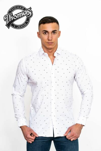 Fehér apró mintás hosszúujjú Thomas ing