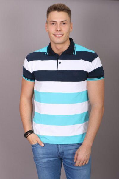 Kék-fehér csíkos galléros póló