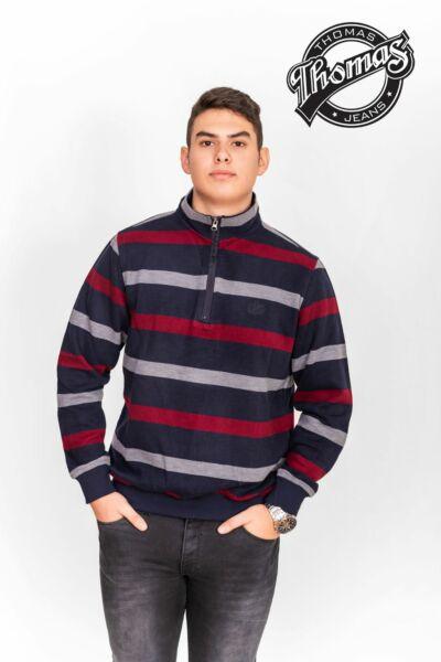 Piros és sötétkék csíkos pulóver