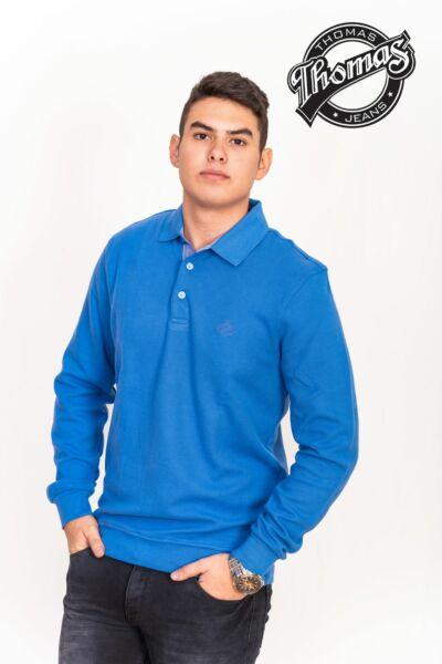 Kék gombos, galléros férfi pulóver