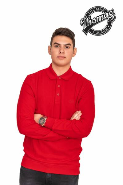 Piros gombos, galléros férfi pulóver