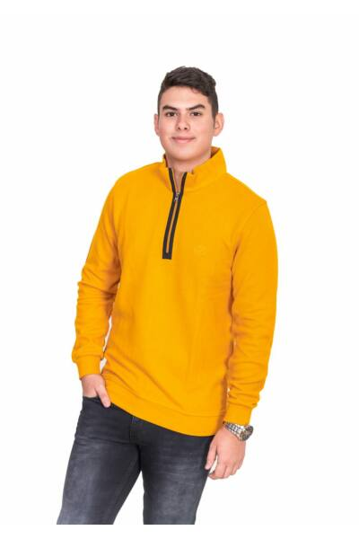 Mustár sárga fél cipzáros pulóver
