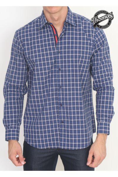 Kék nagykockás Thomas ing