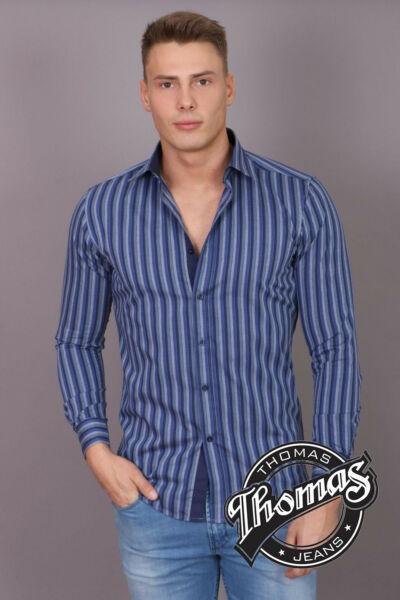 kék csíkos body fit hosszú ujjú Thomas ing