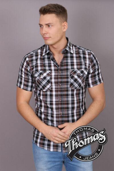 Barna-fehér kockás rövid ujjú ing