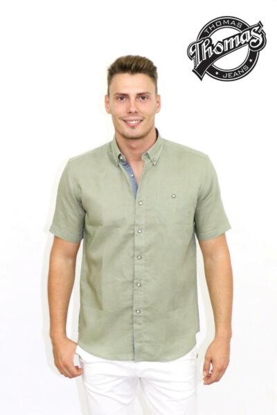 Khaki színű, rövidujjú ing