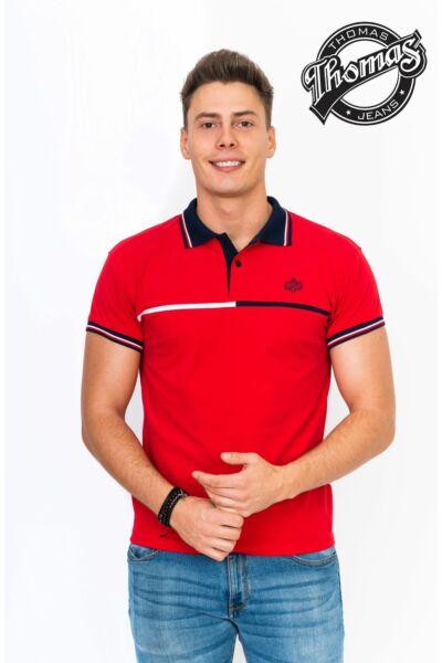 Piros, galléros, vékony csíkos póló