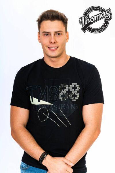 Fekete környakas férfi póló