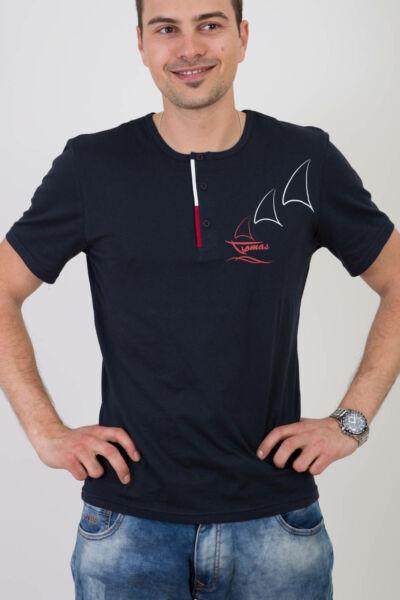 Sötétkék környakas póló, hajós mintával