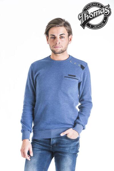 Kék kereknyakú, zsebes pulóver