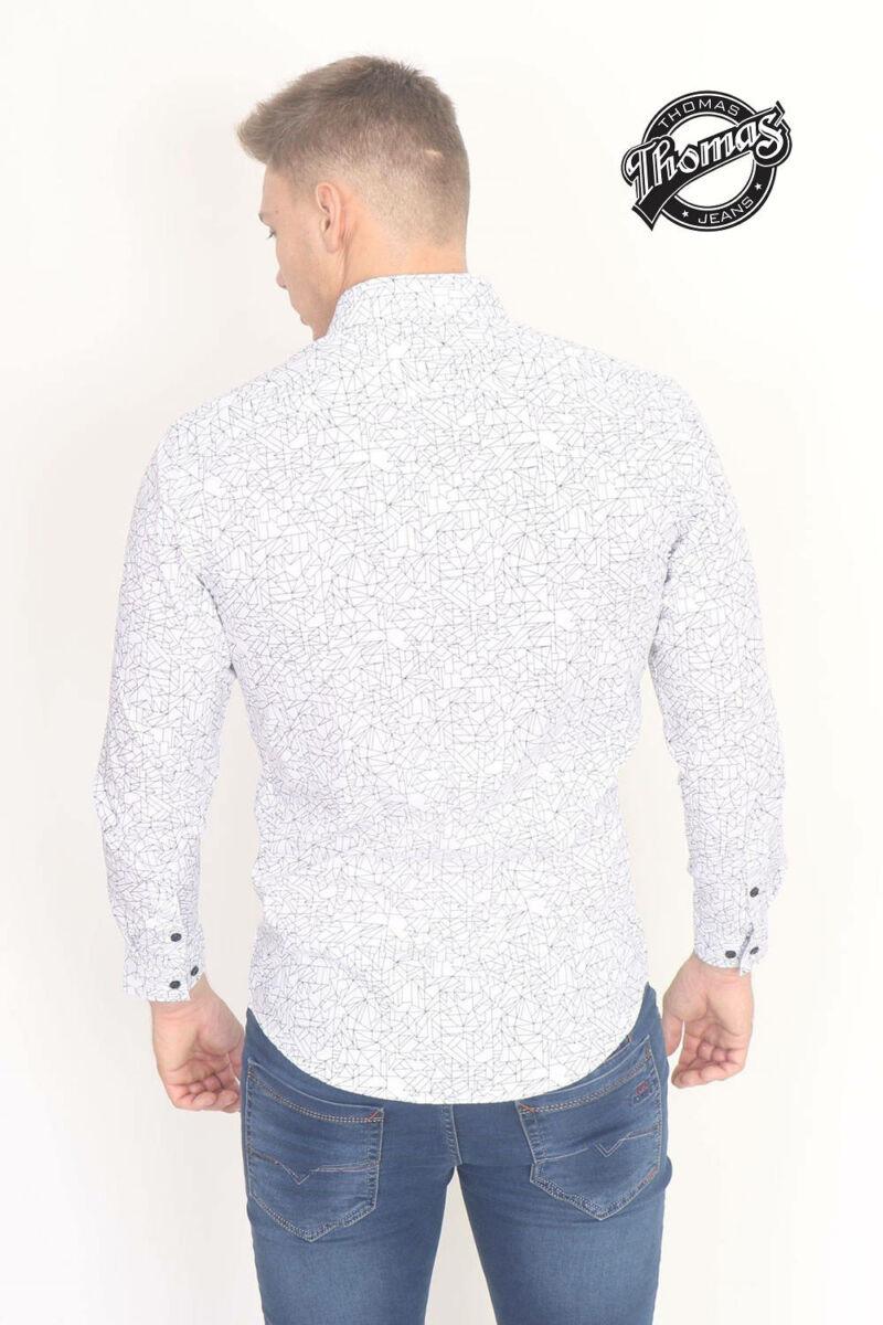 9e25650eae Absztrakt mintás fehér hosszúujjú ing