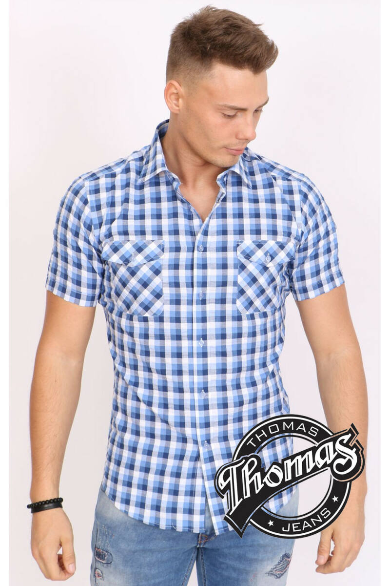 Kék-fehér nagykockás rövid ujjú férfi ing efe090e5d4